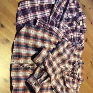 NWOT bundle two button down cotton flannel blouses